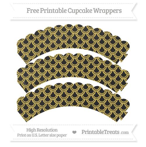 Free Mustard Yellow Fish Scale Pattern Chalk Style Scalloped Cupcake Wrappers
