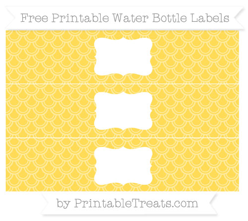 Free Mustard Yellow Fish Scale Pattern Water Bottle Labels