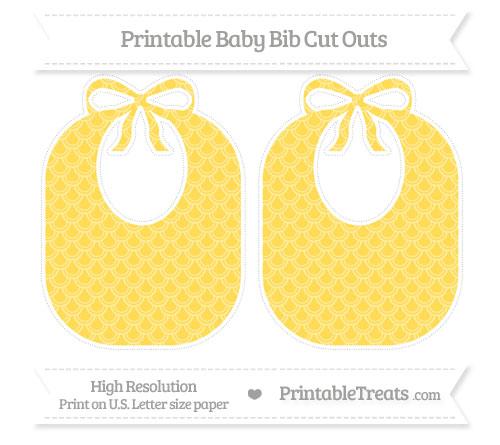 Free Mustard Yellow Fish Scale Pattern Large Baby Bib Cut Outs