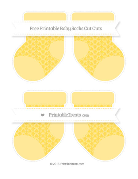 Free Mustard Yellow Fish Scale Pattern Medium Baby Socks Cut Outs