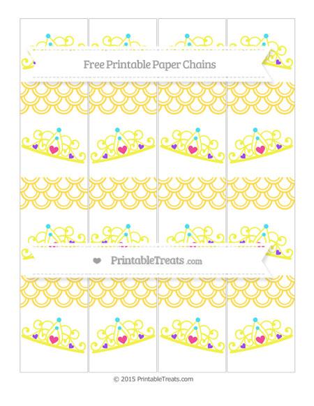 Free Mustard Yellow Fish Scale Pattern Princess Tiara Paper Chains
