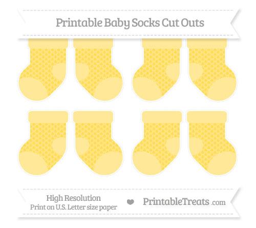 Free Mustard Yellow Fish Scale Pattern Small Baby Socks Cut Outs