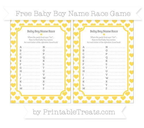 Free Mustard Yellow Heart Pattern Baby Boy Name Race Game