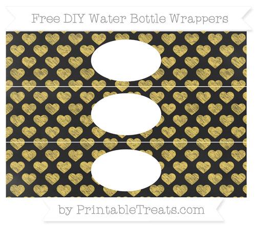 Free Mustard Yellow Heart Pattern Chalk Style DIY Water Bottle Wrappers