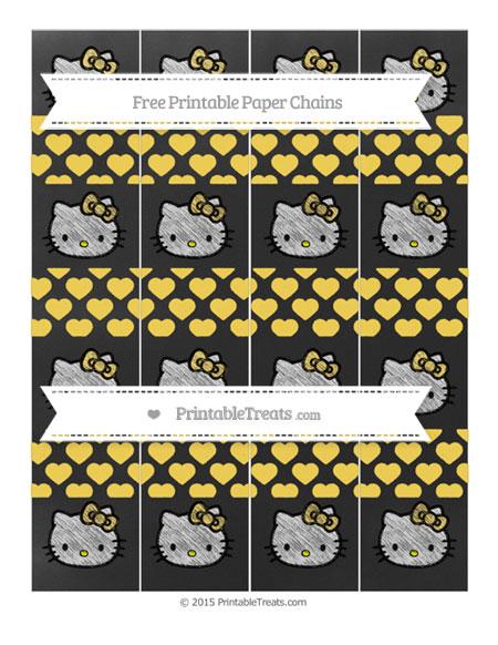 Free Mustard Yellow Heart Pattern Chalk Style Hello Kitty Paper Chains