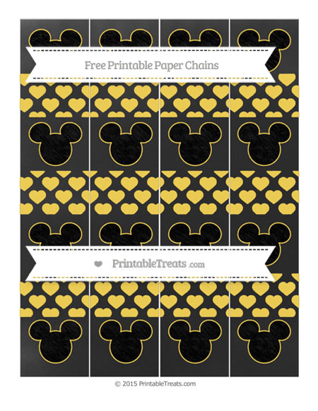 Free Mustard Yellow Heart Pattern Chalk Style Mickey Mouse Paper Chains
