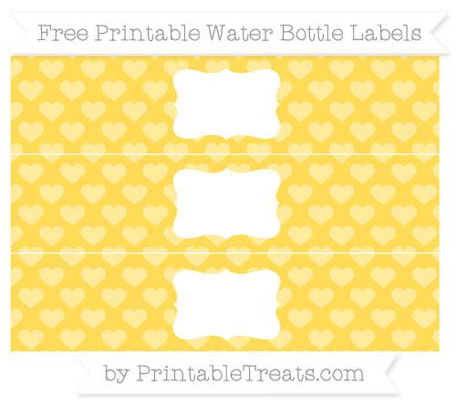 Free Mustard Yellow Heart Pattern Water Bottle Labels