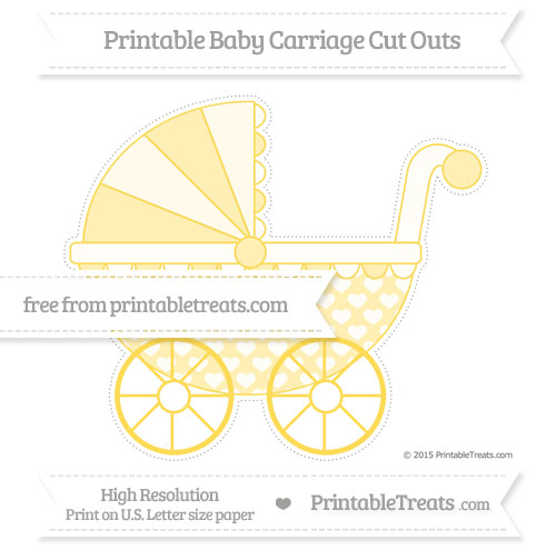Free Mustard Yellow Heart Pattern Extra Large Baby Carriage Cut Outs