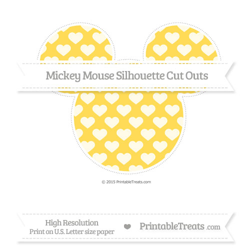 Free Mustard Yellow Heart Pattern Extra Large Mickey Mouse Silhouette Cut Outs
