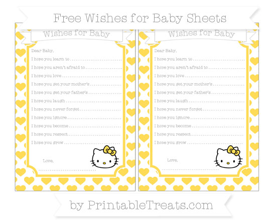 Free Mustard Yellow Heart Pattern Hello Kitty Wishes for Baby Sheets