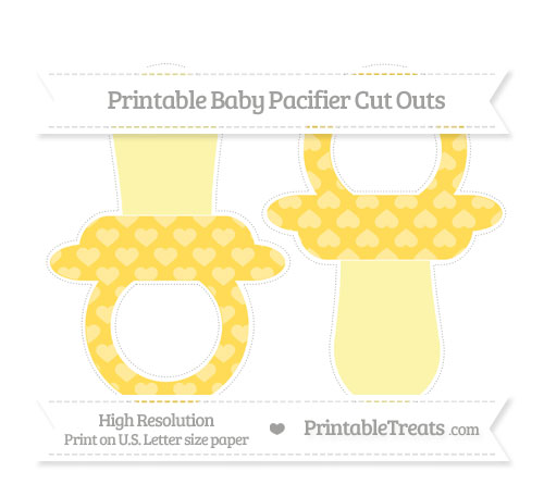Free Mustard Yellow Heart Pattern Large Baby Pacifier Cut Outs
