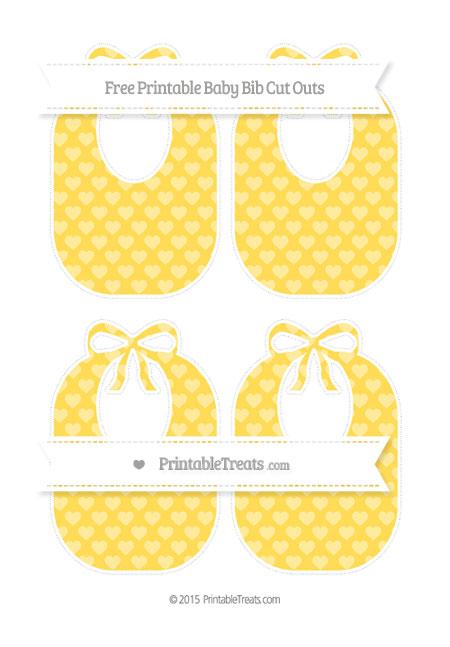 Free Mustard Yellow Heart Pattern Medium Baby Bib Cut Outs