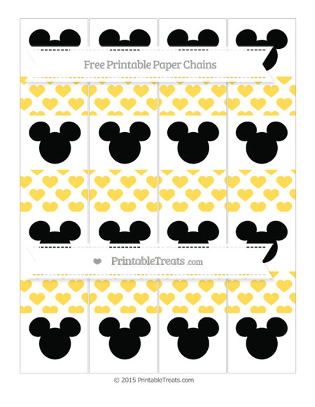Free Mustard Yellow Heart Pattern Mickey Mouse Paper Chains
