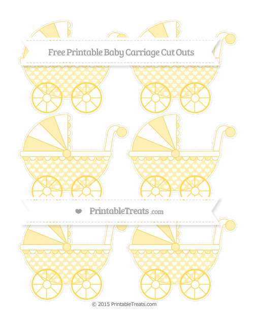 Free Mustard Yellow Heart Pattern Small Baby Carriage Cut Outs