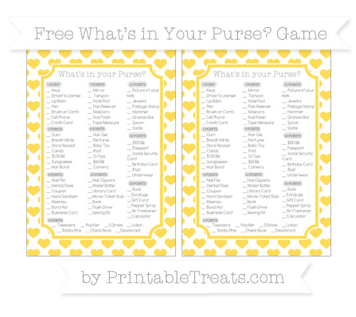 Free Mustard Yellow Heart Pattern What's in Your Purse Baby Shower Game