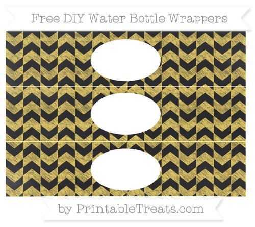 Free Mustard Yellow Herringbone Pattern Chalk Style DIY Water Bottle Wrappers