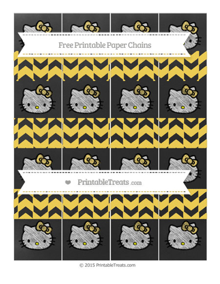Free Mustard Yellow Herringbone Pattern Chalk Style Hello Kitty Paper Chains