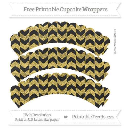 Free Mustard Yellow Herringbone Pattern Chalk Style Scalloped Cupcake Wrappers
