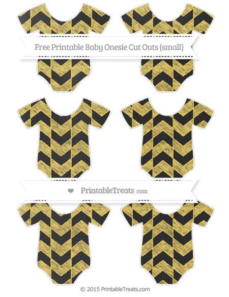 Free Mustard Yellow Herringbone Pattern Chalk Style Small Baby Onesie Cut Outs