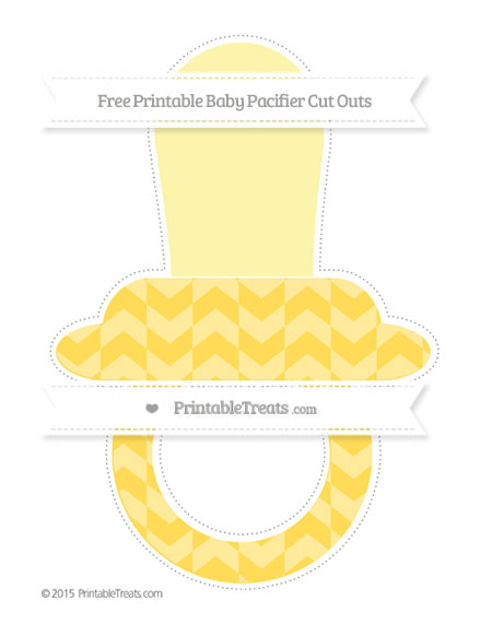 Free Mustard Yellow Herringbone Pattern Extra Large Baby Pacifier Cut Outs