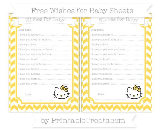 Free Mustard Yellow Herringbone Pattern Hello Kitty Wishes for Baby Sheets