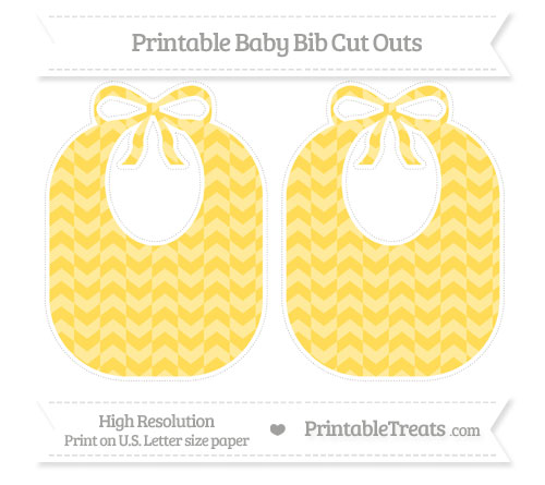 Free Mustard Yellow Herringbone Pattern Large Baby Bib Cut Outs