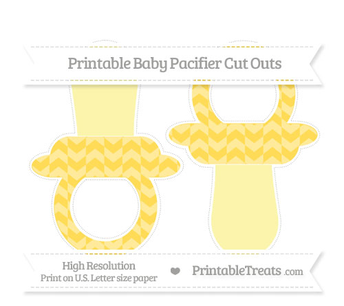 Free Mustard Yellow Herringbone Pattern Large Baby Pacifier Cut Outs