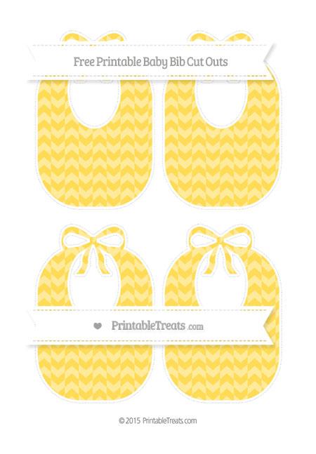 Free Mustard Yellow Herringbone Pattern Medium Baby Bib Cut Outs