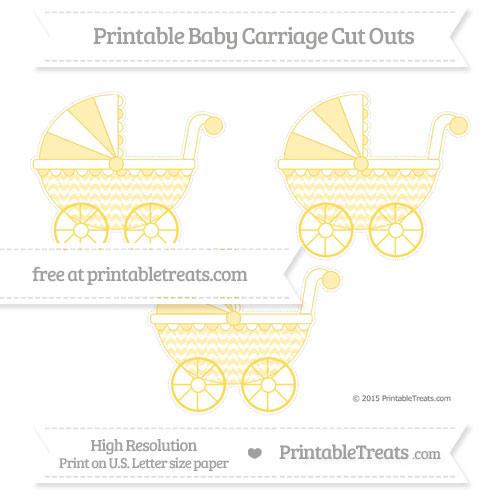 Free Mustard Yellow Herringbone Pattern Medium Baby Carriage Cut Outs