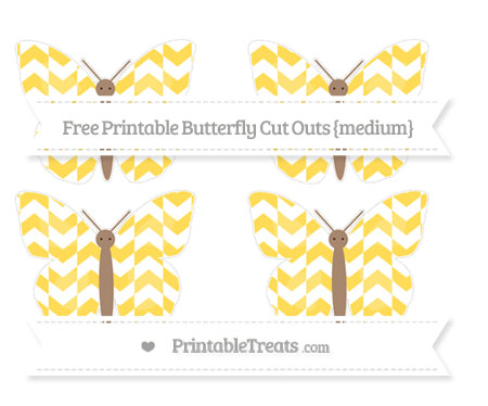 Free Mustard Yellow Herringbone Pattern Medium Butterfly Cut Outs