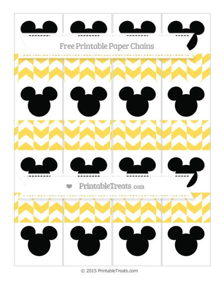 Free Mustard Yellow Herringbone Pattern Mickey Mouse Paper Chains