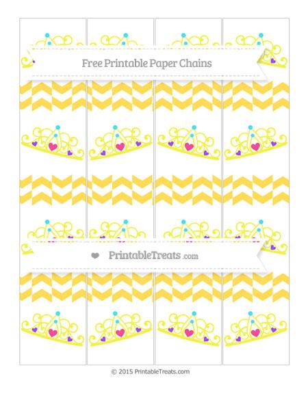 Free Mustard Yellow Herringbone Pattern Princess Tiara Paper Chains