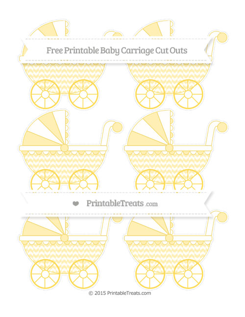 Free Mustard Yellow Herringbone Pattern Small Baby Carriage Cut Outs