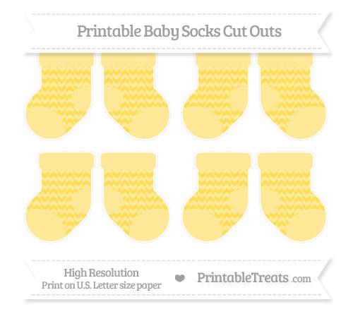 Free Mustard Yellow Herringbone Pattern Small Baby Socks Cut Outs