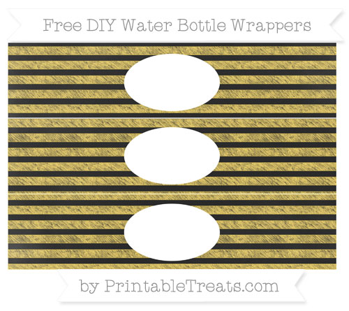 Free Mustard Yellow Horizontal Striped Chalk Style DIY Water Bottle Wrappers