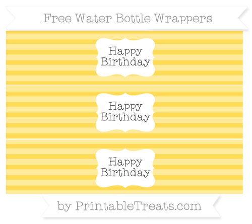 Free Mustard Yellow Horizontal Striped Happy Birhtday Water Bottle Wrappers