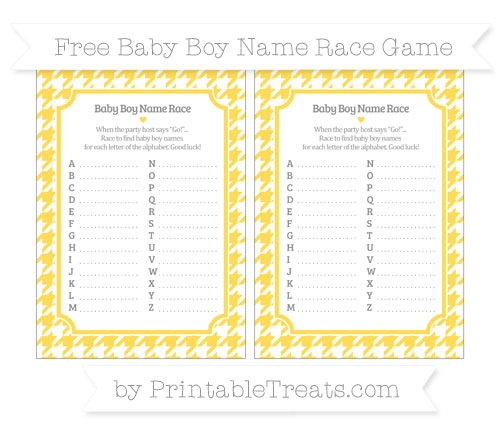 Free Mustard Yellow Houndstooth Pattern Baby Boy Name Race Game