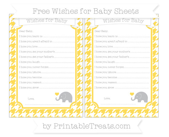 Free Mustard Yellow Houndstooth Pattern Baby Elephant Wishes for Baby Sheets