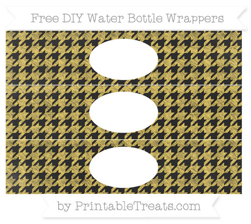 Free Mustard Yellow Houndstooth Pattern Chalk Style DIY Water Bottle Wrappers