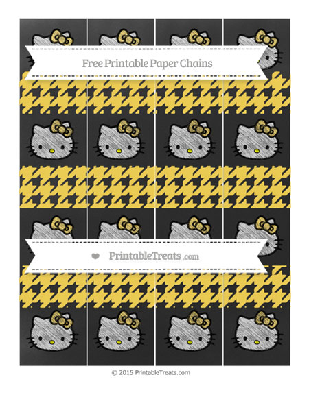 Free Mustard Yellow Houndstooth Pattern Chalk Style Hello Kitty Paper Chains