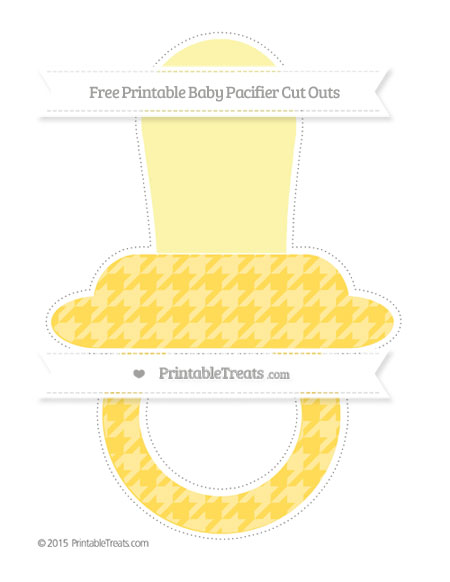 Free Mustard Yellow Houndstooth Pattern Extra Large Baby Pacifier Cut Outs