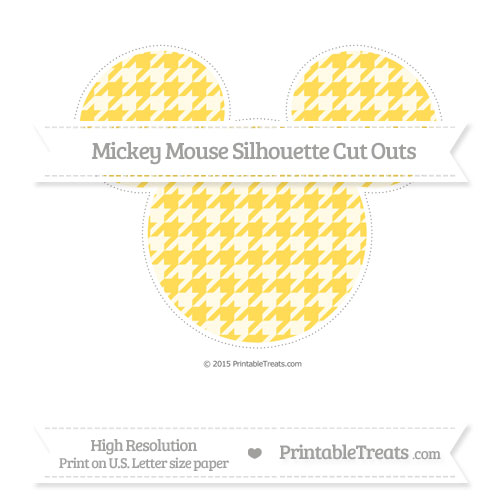 Free Mustard Yellow Houndstooth Pattern Extra Large Mickey Mouse Silhouette Cut Outs