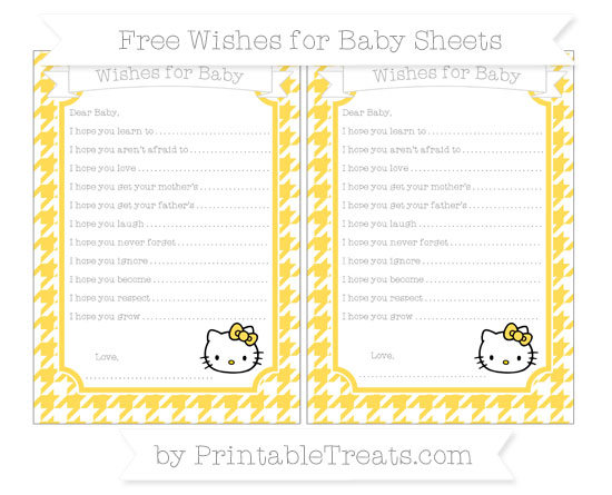 Free Mustard Yellow Houndstooth Pattern Hello Kitty Wishes for Baby Sheets