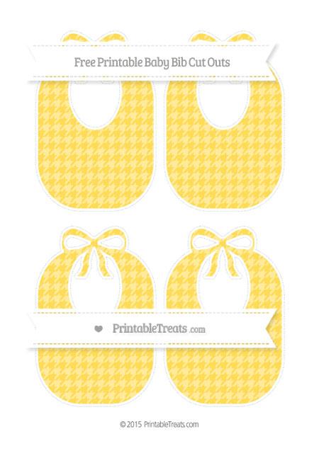 Free Mustard Yellow Houndstooth Pattern Medium Baby Bib Cut Outs