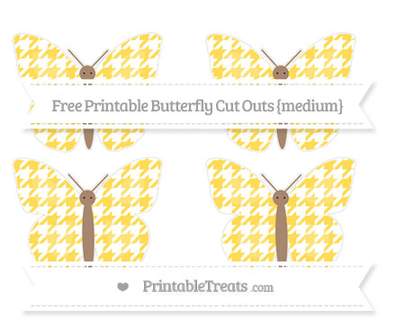 Free Mustard Yellow Houndstooth Pattern Medium Butterfly Cut Outs