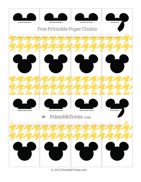 Free Mustard Yellow Houndstooth Pattern Mickey Mouse Paper Chains