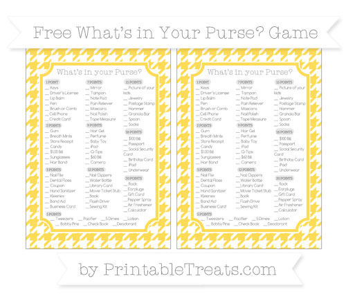 Free Mustard Yellow Houndstooth Pattern What's in Your Purse Baby Shower Game