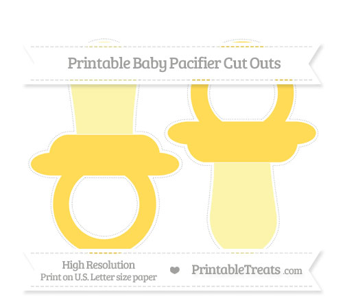 Free Mustard Yellow Large Baby Pacifier Cut Outs
