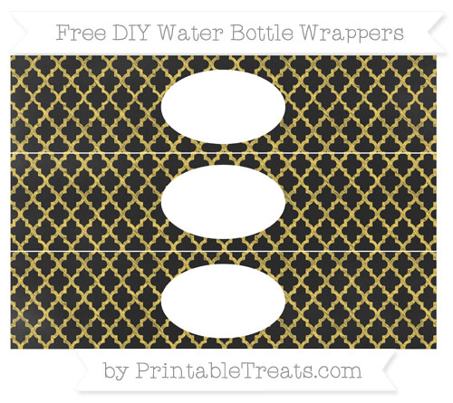Free Mustard Yellow Moroccan Tile Chalk Style DIY Water Bottle Wrappers