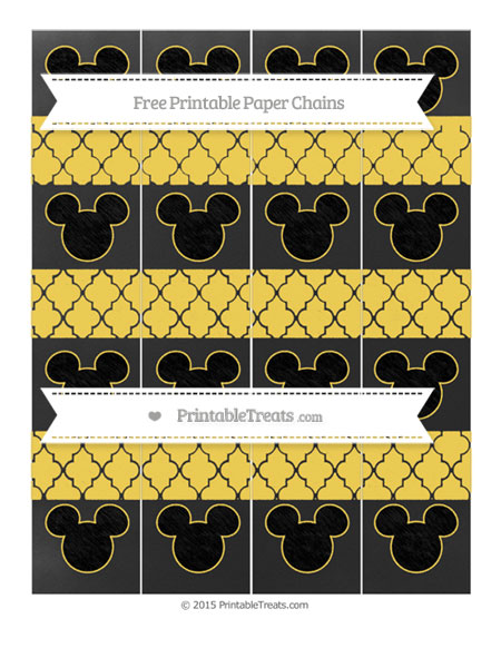 Free Mustard Yellow Moroccan Tile Chalk Style Mickey Mouse Paper Chains